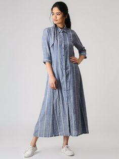 Buy SHEEN Blue Striped Cotton Shirt Style Kurti online in India at best price. Simple Kurti Designs, Kurta Designs Women, Kurti Neck Designs, Kurti Designs Party Wear, Lehenga Designs, Frock Style Kurti, Shirt Style Kurti, Stylish Dresses, Modest Dresses