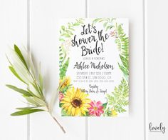 Sunflower Bridal Shower Invitation Rustic by lovelypapershop