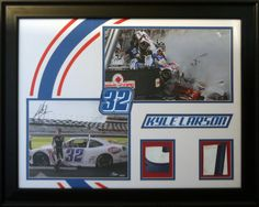 Kyle Larson. Autographed photo with pieces of sheetmetal off of his car.