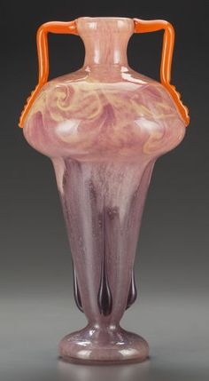Art Glass:Schneider, A CHARLES SCHNEIDER GLASS VASE WITH APPLIED HANDLES. CharlesSchneider Glassworks, Épinay-sur-Seine, France, circa 1923. Mar...