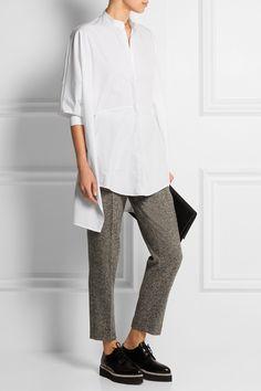 Chalayan|Asymmetric split-back cotton-poplin shirt|NET-A-PORTER.COM