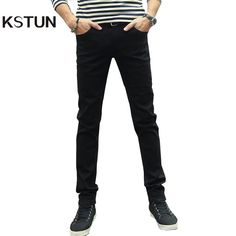 KSTUN Men Jeans Pencil Pants Stretch Casual Slim Leg Skinny Boys Male Yong Man Denim Trousers Solid Blue Black Quality Hombre 36