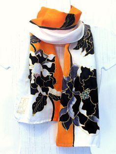 Hand Painted Silk Scarf, Japanese Scarf. Black Kimono Peonies Orange Silk Scarf…