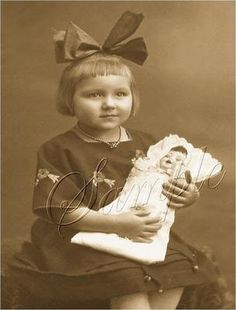 Vintage Girl Bow Antique Doll Photo Canvas Art Print | eBay