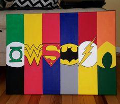 Green Lantern, Wonder Woman, Superman, Batman, The Flash, Aquaman. Canvas painting