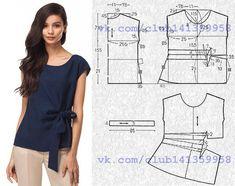 Блузка свободного силуэта, с короткими цельнокроеными рукавами и драпировкой с декоративным бантом. Выкройка на размер 42/44 (рос.). #простыевыкройки #простыевещи #шитье #блузка #блуза #выкройка