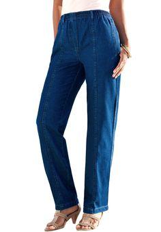Kate Elastic Waist Denim Jeans choice of 4 colors...black, dk. indigo blue, med. stonewash blue and faded (bleached)denim