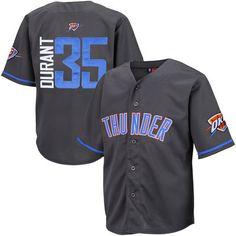 Youth Oklahoma City Thunder Kevin Durant Majestic Charcoal NBA Baseball  Jersey 69e3f094646