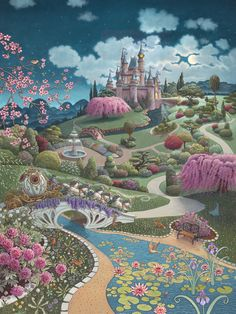 This stunning mural of Cinderella's coach is by Ruth Sanderson. New Work!!  Huge!!