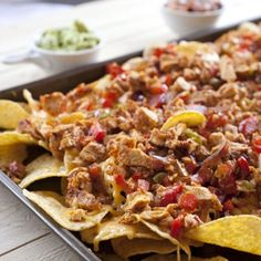 Chicken Fajita Nachos with lactose free cheese