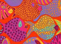 Brandon Mably Fabric Shoal, Tomato (per metre) Horse Fabric, Blue Quilts, Quilt Kits, Applique Patterns, Simple Shapes, Fabric Design, Outdoor Blanket, Bloom, Stripes