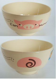 I am Hungry Pig Animal bowl yellow-Japanese kawaii