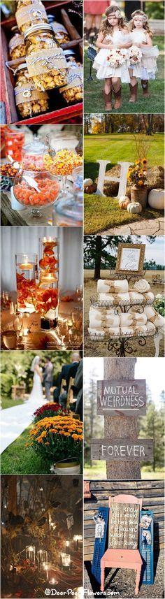 Rustic and fun fall wedding ideas / http://www.deerpearlflowers.com/autumn-fall-wedding-ideas/