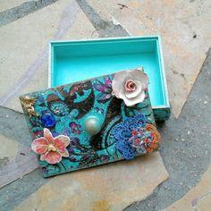 boite à bijoux bohème turquoise originale peinture acrylique en bois unique : Boîtes, coffrets par coralie-bellal