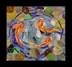 mosaic koi wall insert by Scallon Art Mosaic Wall, Mosaic Glass, Mosaic Tiles, Mosaic Artwork, Tiling, Koi Art, Fish Art, Mosaic Projects, Art Projects