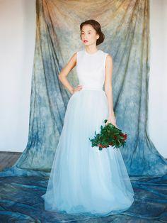 Nova // Open back wedding dress - Bridal separates - Short wedding dress - Backless wedding gown - Mint wedding dress - Colored wedding gown