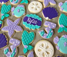"""17 Likes, 3 Comments - Lauren French (@laurenscookieboutique) on Instagram: """"Mermaid set for a 3rd birthday party!!! Loving the mermaid theme!!! #mermaid #mermaidcookies…"""""""