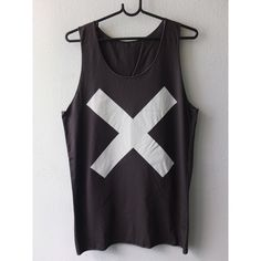 X Symbol Punk Electronica Fashion Pop Rock Art Tank Top ($13) ❤ liked on Polyvore featuring tops, shirts, dark olive, tanks, women's clothing, punk rock shirts, shirts & tops, punk rock tank tops, punk tops and olive tops