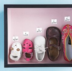 Your Baby's Milestones! Save one shoe from each year of child's life - display in a shadow box as an amazing keepsake!Save one shoe from each year of child's life - display in a shadow box as an amazing keepsake! Deco Kids, Future Baby, Shadow Box, Baby Love, Cute Kids, Little Girls, Kids Girls, 5 Kids, Kids Room
