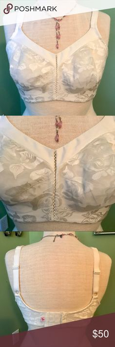 Wacoal Bra & Bag Wacoal makes some of the most beautiful bras for full figures, as well as average cup size. They are strong supporters of breast cancer awareness as well, please note the pink ribbon 🎀 on the backside. This ivory soft cup bra has a subtle floral design, 3-hook closure, adjustable straps, and fits beautifully showing off your figure. Brand new condition. 🦋FREE Wacoal bag with purchase!🦋.    AB1 Wacoal Intimates & Sleepwear Bras