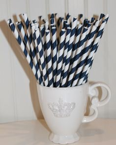 50 NAVY BLUE Paper drinking straws with Blank Paper Flags - Wedding, Baby Shower, Milk and Cookies -  Made In Usa. $8.00, via Etsy.