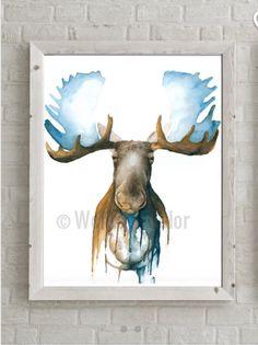 Abstract Moose Watercolor Glicee Print made from original painting - Unframed moose head Antlers wall decor woodland nursery wall art Watercolor Animals, Watercolor Paintings, Original Paintings, Moose Art, Moose Head, Bull Moose, Nursery Wall Art, Nursery Water, Wildlife Art