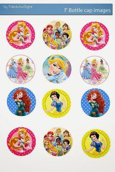 Folie du Jour Bottle Cap Images: Disney princess 1' inch free digital bottle cap images
