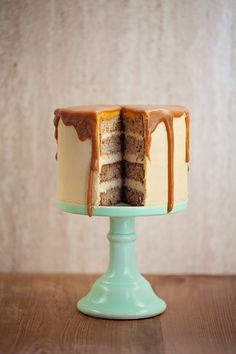 banana cake with caramel frosting.