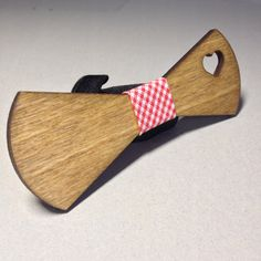 Wooden bow-tie unique gift Oak wood Heart Love by TheGentleWood
