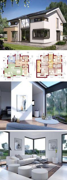 Einfamilienhaus Neubau modern mit Galerie & Satteldach Architektur - Haus bauen Grundriss Fertighaus Design Concept-M 153 Bien Zenker Hausbau Ideen - HausbauDirekt.de