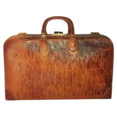 Antique Leather Monogrammed Briefcase Satchel on Chairish.com