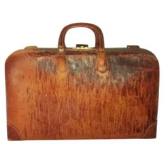 Antique Leather Monogrammed Briefcase Satchel on Chairish.com
