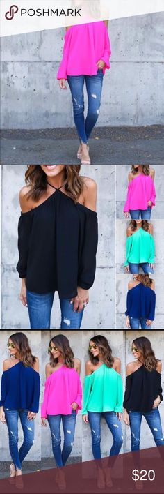 """🖤Pink Hotness!!🖤💕 Hot Pink """"off the shoulder"""" Top.  Thin Summer Fabric.  Size chart pictured.  💕 """"Boutique Item"""" Tops Blouses"""