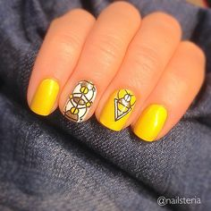 CND Vinylux Bicycle Yellow and Cream Puff. Stamping MoYou London Minimal 05.