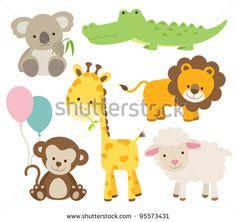 Vector illustration of cute animal set including koala, crocodile, giraffe, monkey, lion, and sheep. - stock vector