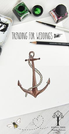 #Wedding #Nautical #Beach #illustrations from HoneyTree to #CreateABuzz #Anchor