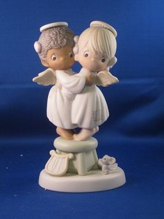 Angels We Have Heard On High - Precious Moment Figurine-Precious Moments Porcelain Figurine-Angels We Have Heard On High Retired 1996 Precious Moments Figurines, Find Color, Christmas Figurines, Smurfs, Coloring Pages, Baby Kids, Angels, Pottery, In This Moment