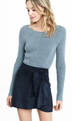 high waisted faux suede wrap skirt from EXPRESS