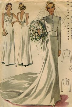 RESERVED 1930s McCall 9784 Vintage Sewing Pattern Misses Bridal or Evening Gown and Jacket Size 16 Bust 34