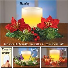 Seasonal Flameless Candle Set with Remote
