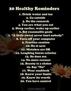 20 healthy reminders