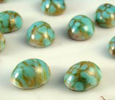 Vintage 10x8 Turquoise Matrix Glass by alyssabethsvintage on Etsy, $3.15