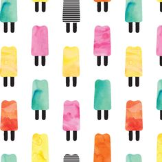 Watercolor Popsicles fabric by littlearrowdesign on Spoonflower - custom fabric