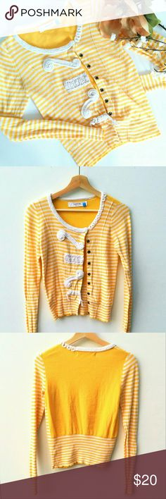 Anthropologie Spring Cardigan Yellow Sparrow Anthropologie Cardigan with crochet embellishments. Light wear, good condition. Anthropologie Tops