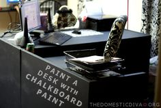 A Blogger's Desk Makeover: Thrifted Desk Painted with Chalkboard Paint