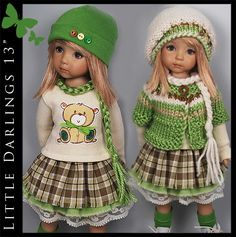 """Green, Brown & Cream Outfit for Little Darlings Effner 13"""" by Maggie & Kate"""
