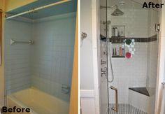 Small Bathroom Makeover - separate shower and bath installed