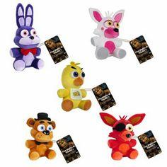 "Funko FiveNights At Freddy's | FNAF Set of 5 Collectible 6"" Plush Toy Figures - Freddy Fazbear, Mangle aka Funtime Foxy, Foxy, Chica, & Bonnie (Series 1)"