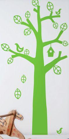 Muursticker Boom Met Vogel Groen
