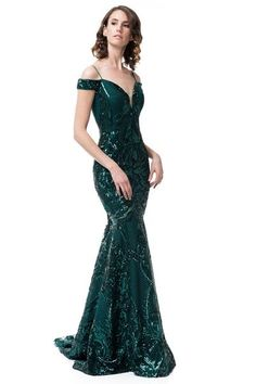 38a5dfa42e Off Shoulder Emerald Green Evening Dress - Prom And Bridal Dress House